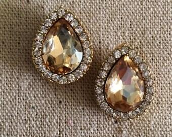 Bridesmaid Earrings Wedding Earrings CHAMPAGNE CRYSTAL TEARDROPS Post Earrings Bridesmaid Gift Wedding Jewelry Chandelier Earrings