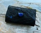 CUSTOM Black Leather Tobbacco Pouch with Lapis Lazuli for Naomi