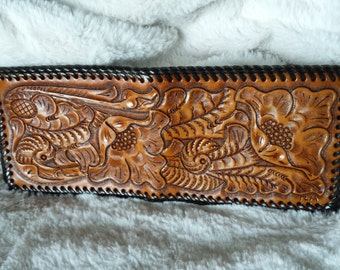 Leather Hand Tooled Wallet in Floral Scene