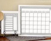 Printable Calendar and Menu Planner - Dry Erase Calendar - Weekly Menu Planner - 2017 Calendar - White Calendar and Menu - Monthly Calendar
