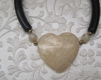 Black And Marbled Cream Heart Necklace, Vintage Jewelry, Valentine's, Boho Cic