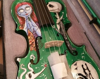 Hand-Painted Tim Burton Inspired Nightmare Before Christmas Violin with Jack and Sally and Zero!