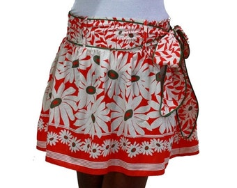 CHRISTMAS SALE Spring Fashion Skirt / Flower Mini Skirt in Coral and White with Sash Belt / Ready to Ship