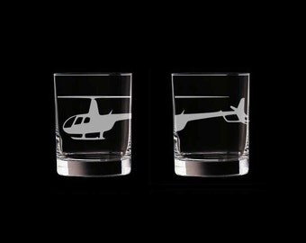 robinson r44 Set of 2 Scotch Whiskey Glasses helicopter helo