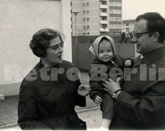 Vintage Family Photo Series 1968, Collector Photos Mother Father Baby, 1968 Germany Black and White Photography