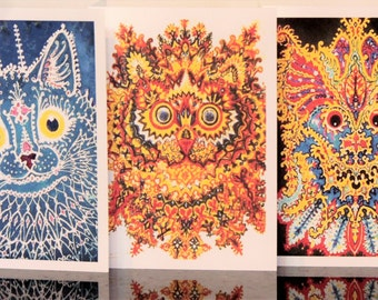Boxed Note Cards with Crazy Louis Wain Cats