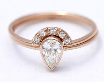 rose gold wedding ring set pear diamond engagement ring wedding ring set diamond wedding ring half carat pear diamond 18k rose gold - Engagement Wedding Ring Set