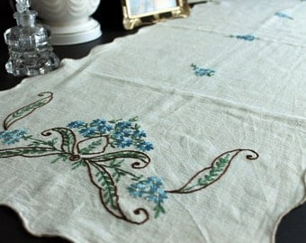 Vintage Hand Embroidered Blue Floral Dresser Scarf Table Runner With Scalloped Edging