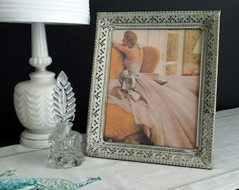 Vintage Picture Frame Decorative Gold Metal Filigree Antiqued White Washed  8 x 10