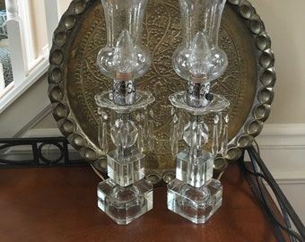 Vintage Lamps 1930s Art Deco Crystal Adorned Cut Crystal Lighting Hollywood Regency  Lamps Boudoir Entry Foyer Lighting