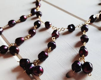 Cranberry Pearl Bib Necklace, classic glam, dramatic necklace, Ready to Ship