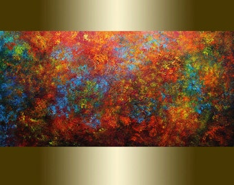 Acrylic painting abstract red yellow blue palette knife.
