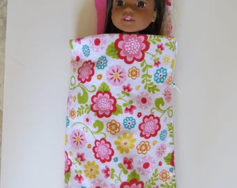 "Made To Fit Like 14.5"" Wellie Wishers Doll Clothes; Zippered Sleeping Bag Made to Fit Wellie Wishers Doll; Doll Sleeping Bag and Pillow"