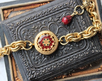 Vintage Button Bracelet Italian Red Enamel Mosaic Design, Chunky Gold Chain Bracelet, Mosaic, Quilt pattern Vintage Button Jewelry veryDonna