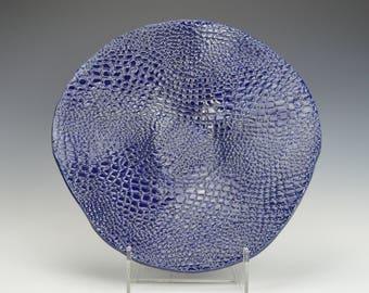 Stoneware fruit bowl, ceramic serving bowl, pottery decorative bowl, cobalt blue textured bowl