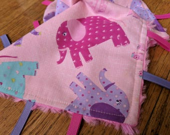 Baby Tag Blanket - Elephants - Pink Purple Teal - Baby Girl - Ready to Ship
