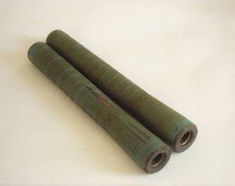 Pair Turquoise Green Wood Industrial Bobbins Spools