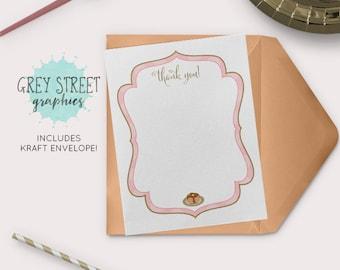 Pancakes and Pajamas Thank You Cards, Birthday Stationery, Child Kids Birthday Thank You Cards - Set of 10