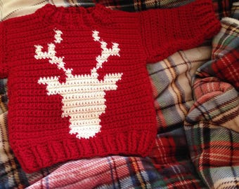 Crochet Baby Sweater, Crochet Moose Sweater, Baby Reindeer Sweater, Baby Clothing, Baby Accessories