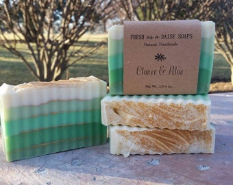 Clover & Aloe, Natural Handmade Soap, Cold Process Soap, VEGAN