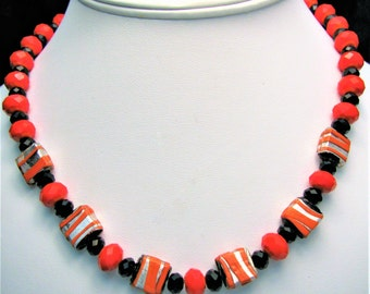 Orange and Silver Square Pressed Glass Focals with Orange Crystal Beaded Necklace - Item 317