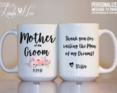 Mother of the Groom Mug, Thank you for raising the Man of my Dreams, Mother of the Groom, Mother in Law Gift Personalized Wedding Mug MPH208