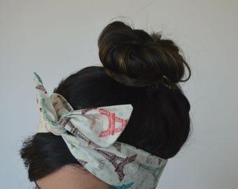 Paris Hair Bow, Eiffel Tower Bow Paris Bow, Style Dolly Bow head band A1