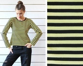 MARIMEKKO yellow black horizontal striped cotton long sleeve tshirt top M