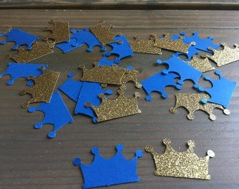 Prince royal blue and gold glitter paper punch confetti, table decor, baby shower, birthday party, table scatter