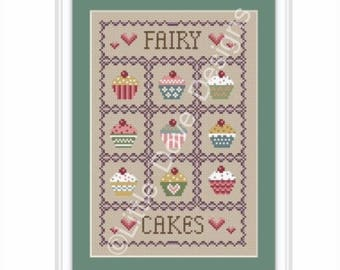 INSTANT DOWNLOAD Fairy Cakes Cross Stitch Sampler PDF Chart