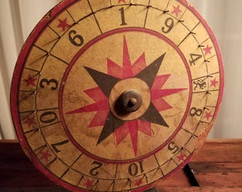 1920's Gambling History Good Aged Condition Vintage Standing Spinning Black & Red Carnival Fair Gaming Roulette Wheel Folk Art Boardwalk Art