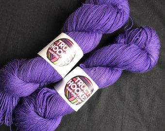 Royal Purple hand dyed merino sock yarn