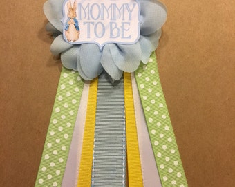 Peter rabbit blue Baby Shower Pin Mommy to be pin Flower Ribbon Pin Corsage Glitter Rhinestone Mommy Mom New Mom storybook shower