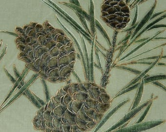 Anique pine cones specimen painting on pale green silk velvet panel early 1900s sewing pillow framing firescreen project