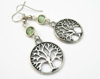 Tree of Life Birthstone Earrings, Personalized Family Tree Earrings, Nature Earrings, Tree Jewelry, Tree Charm Earrings, Arborist Earrings
