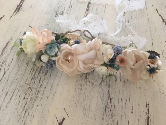 Petal Flower crown- Well Dressed Wolf Crown- Flower Tie back halo- Flower Headband- Headband- Tie Back Headband- Flower Girl Headband- hair