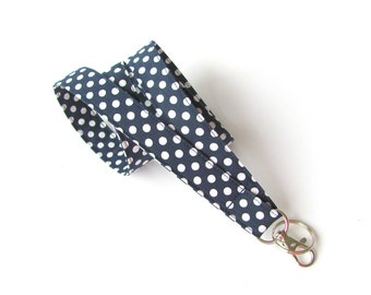 Navy Polka Dot Badge Lanyard, Women's Key Lanyard Men's Fabric Id Badge Holder Teacher Gift