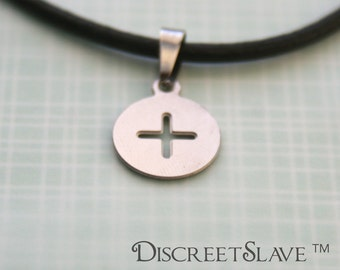 Stainless steel Female slave pendant. Simple circle and cross. For slaves, submissives and owned persons in a BDSM relationship