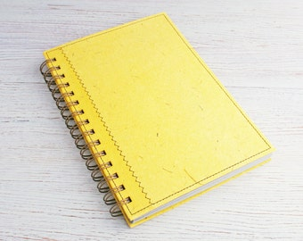 Journal Dot Grid A5 Notebook plain yellow / recycled notebook / eco planner / yellow notebook / dotted notebook / spiral bound notebook