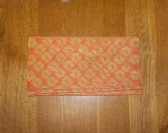 """Antique kimono fabric - Shibori, Faded orange/Tan beige, Big dots/Clouds (H59"""":W14.5"""")"""