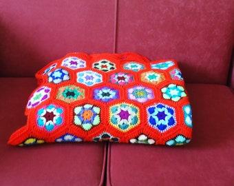 Crochet Blanket, Afgan Blanket, Crochet Throw, Red Crochet Blanket, Granny Square Blanket in Red, Multicolour Afgan Blanket