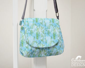 Floral Ferns Handbag, Cross Body Bag, Small Messenger Bag, Shoulder Bag