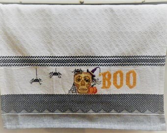 """BOO! XL Kitchen Towel Halloween Skull Witch's Hat and Spiders 18 x 28"""" Completed Cross Stitch Halloween Gift Black Checks Orange Hallows Eve"""