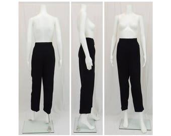 LINDA ALLARD for Ellen Tracy Black Slacks Pants Size 12 Petite 12P