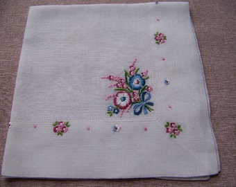 Vintage Hand Embroidered Floral Bouquet Hanky