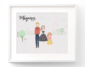 Personalized Family Portrait Custom Family Cartoon Family Portrait Illustration Anniversary Gift Custom Family Name Print Housewarming Gift