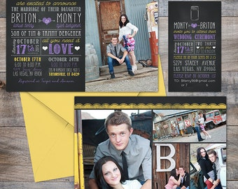 Fun Photo Wedding Invitation - Custom Wedding Invitation Set, engagement photos, pretty paper, LDS weddings, fun typography fonts
