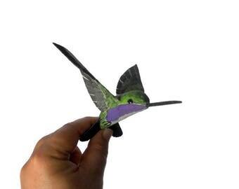 Hummingbird art sculpture animal paper mache bird ornament