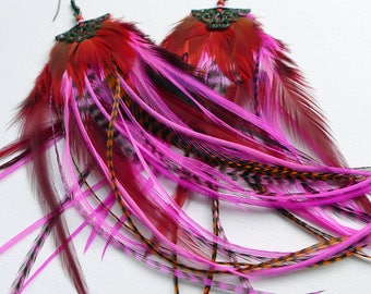 Long Feather Earrings, pink and fluffy festival fashion, boho chic hippy feather jewelry