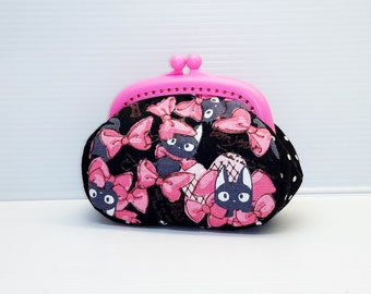 Black cat black base hot pink ribbon dots  coin /change pouch/purse/wallet w plastic frame